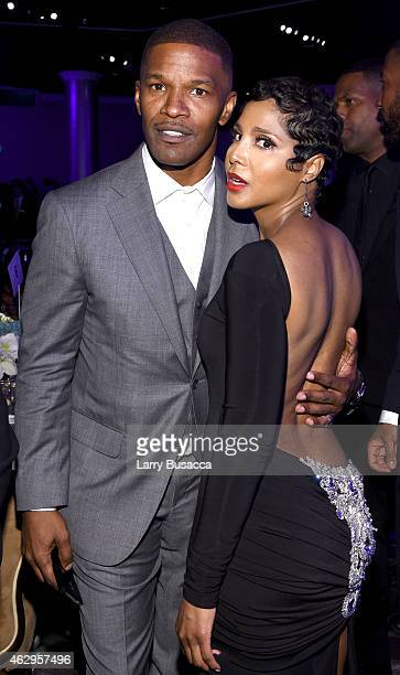 Actor Jamie Foxx and recording artist Toni Braxton attend the PreGRAMMY Gala and Salute To Industry Icons honoring Martin Bandier at The Beverly...