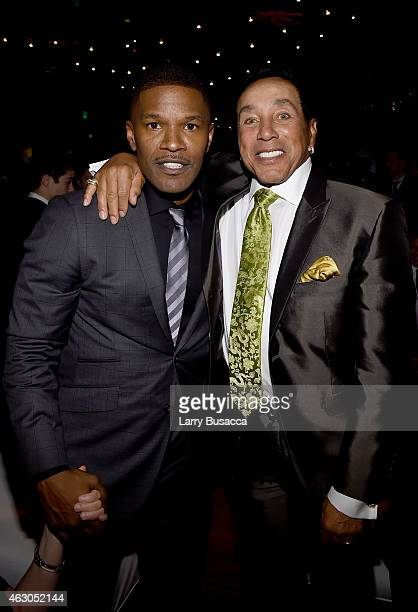Actor Jamie Foxx and singer Smokey Robinson attend the Sony Music Entertainment 2015 PostGrammy Reception at The Palm on February 8 2015 in Los...