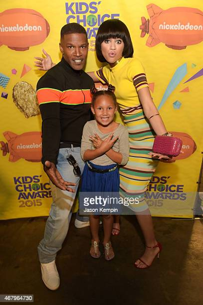 Actor Jamie Foxx Annalise Bishop and actress Zendaya attend Nickelodeon's 28th Annual Kids' Choice Awards held at The Forum on March 28 2015 in...