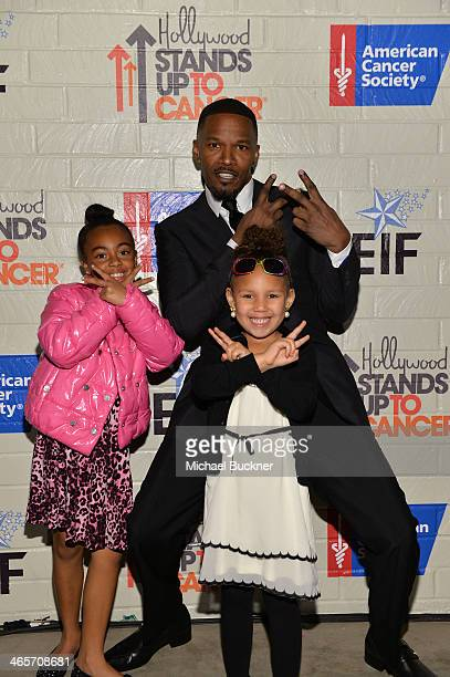Actor Jamie Foxx Annalise Bishop and guest attend Hollywood Stands Up To Cancer Event with contributors American Cancer Society and Bristol Myers...
