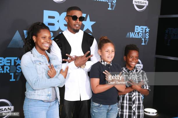 Actor Jamie Foxx Annalise Bishop and kids arrives at the 2017 BET Awards at Microsoft Theater on June 25 2017 in Los Angeles California