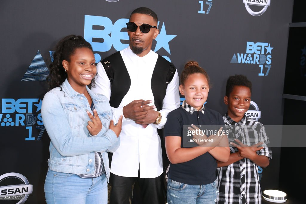 Actor Jamie Foxx (2nd L), Annalise Bishop (2nd R) and kids arrives at the 2017 BET Awards at Microsoft Theater on June 25, 2017 in Los Angeles, California.