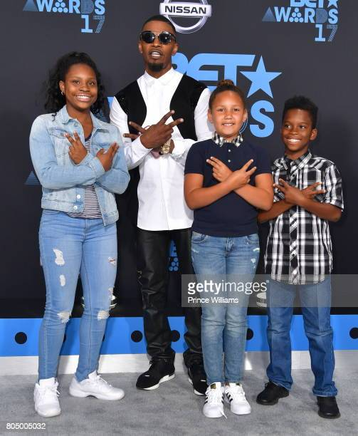 Actor Jamie Foxx Annalise Bishop and kids attend the 2017 BET Awards at Microsoft Theater on June 25 2017 in Los Angeles California