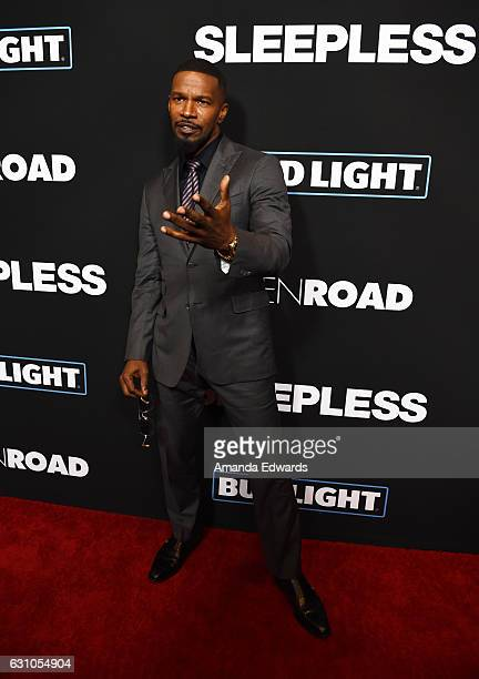 Actor Jamie Foxx arrives at the premiere of Open Road Films' Sleepless at the Regal LA Live Stadium 14 on January 5 2017 in Los Angeles California