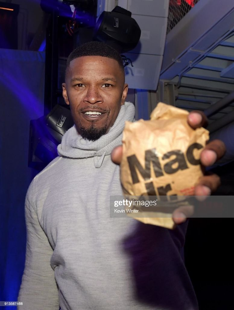 Actor Jamie Foxx attends the Bootsy Bellows After Party for the 'Big Game Experience' with McDonald's Mac Jr. sandwiches presented by American Airlines & Casper on February 2, 2018 in Minneapolis, Minnesota.