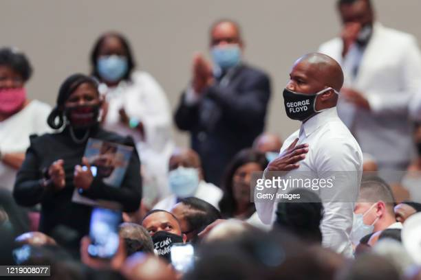Actor Jamie Foxx attends the funeral service for George Floyd in the chapel at the Fountain of Praise church June 9, 2020 in Houston, Texas. Floyd...
