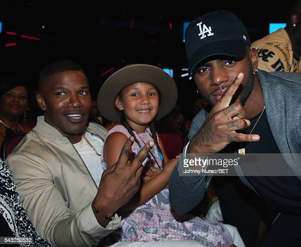 Actor Jamie Foxx daughter Annalise Bishop and singersongwriter Bryson Tiller attend the 2016 BET Awards at the Microsoft Theater on June 26 2016 in...