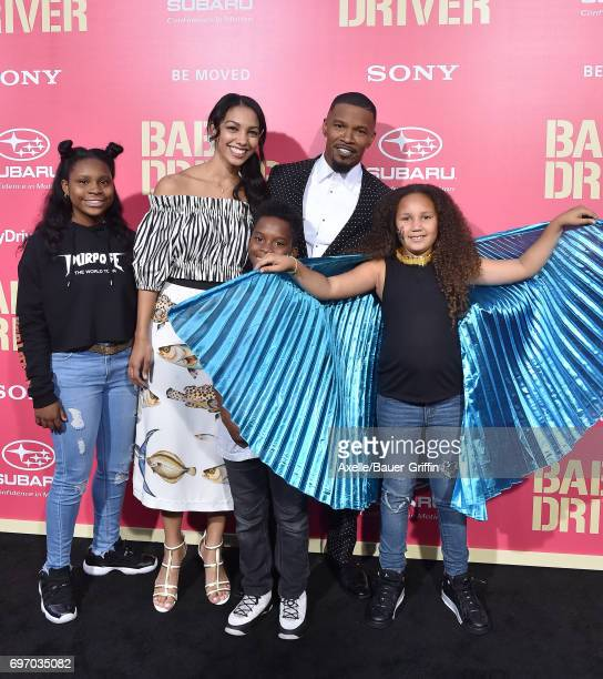 Actor Jamie Foxx daughters Corinne Foxx and Annalise Bishop and family arrive at the premiere of 'Baby Driver' at Ace Hotel on June 14 2017 in Los...