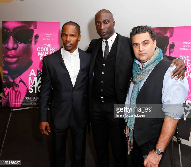 Actor Jamie Foxx designer Ozwald Boateng and director Varon Bonicos attend the premiere of 'A Man's Story' at WME Screening Room on November 1 2012...