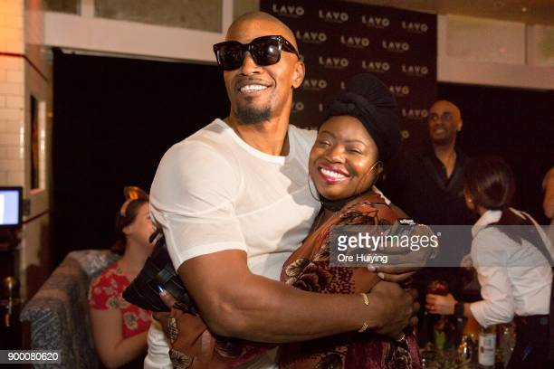 Actor Jamie Foxx hugs his sister Deidre Dixon at the LAVO Singapore Grand Opening at Marina Bay Sands on December 31 2017 in Singapore