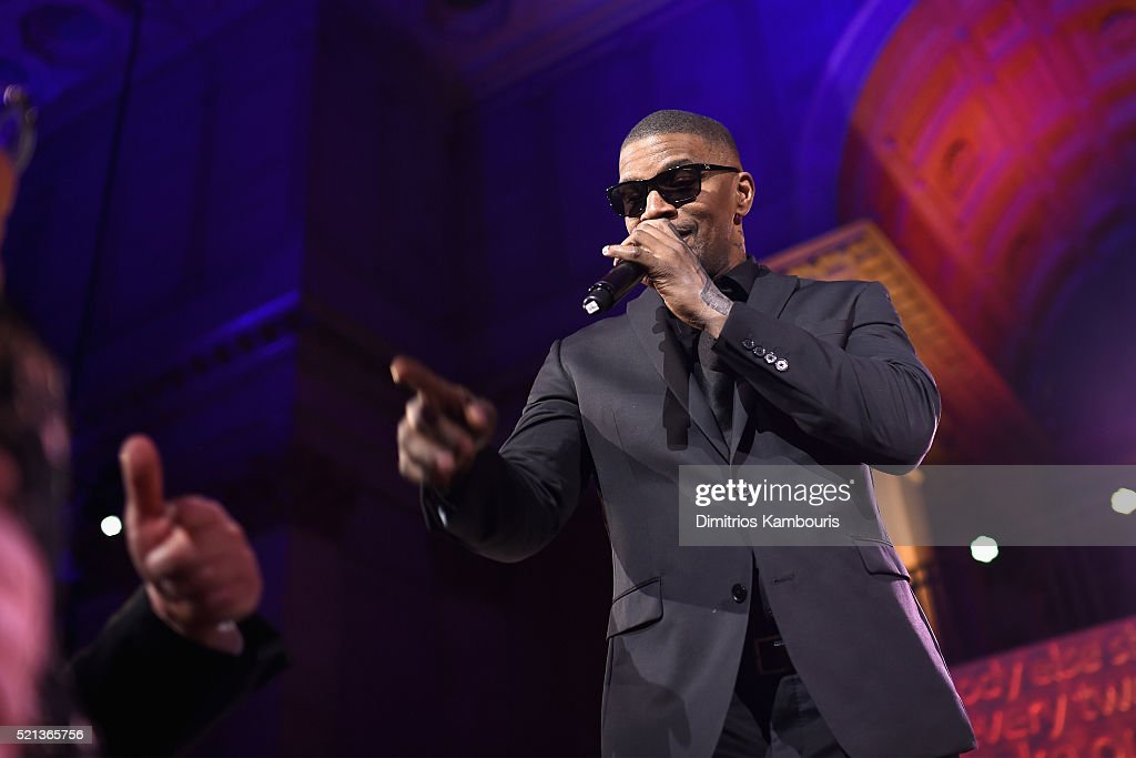 Actor Jamie Foxx performs onstage during Stand Up To Cancer's New York Standing Room Only, presented by Entertainment Industry Foundation, with donors American Airlines and Merck, chaired by Jim Toth, Reese Witherspoon & MasterCard President/CEO Ajay Banga and his wife Ritu, honoring Katie Couric at Cipriani Wall Street on April 9, 2016 in New York City.