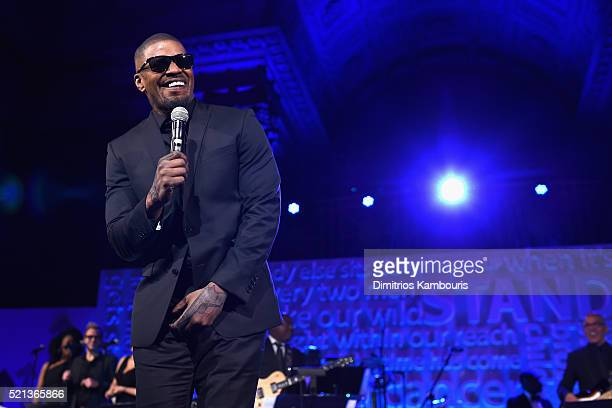 Actor Jamie Foxx performs onstage during Stand Up To Cancer's New York Standing Room Only presented by Entertainment Industry Foundation with donors...