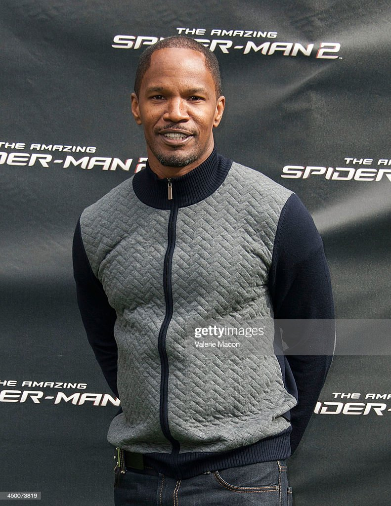 Actor Jamie Foxx poses at 'The Amazing Spiderman 2' Los Angeles Photo Call at Sony Pictures Studios on November 16, 2013 in Culver City, California.
