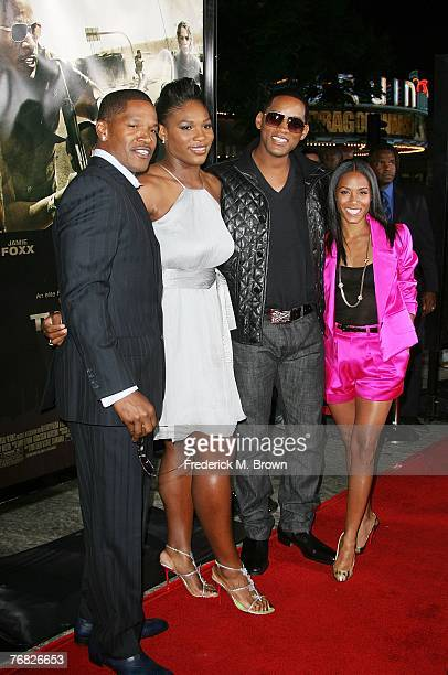Actor Jamie Foxx Serena Williams actor Will Smith and actress Jada Pinkett Smith attend The Kingdom film premiere at the Mann's Village Westwood...