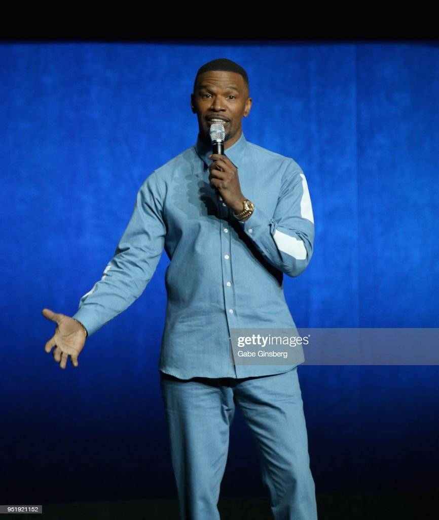 Actor Jamie Foxx speaks during CinemaCon 2018 Lionsgate Invites You to An Exclusive Presentation Highlighting Its 2018 Summer and Beyond at The Colosseum at Caesars Palace during CinemaCon, the official convention of the National Association of Theatre Owners, on April 26, 2018 in Las Vegas, Nevada.