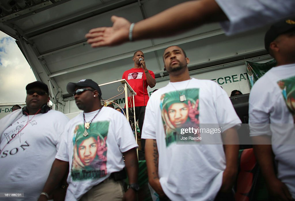 Actor Jamie Foxx speaks during the 'March for Peace' at Ives Estate Park in honor of Trayvon Martin on February 9, 2013 in Miami, Florida. Trayvon Martin was killed by George Zimmerman on February 26, 2012 while Zimmerman was on neighborhood watch patrol in the gated community of The Retreat at Twin Lakes in Sanford, Florida.