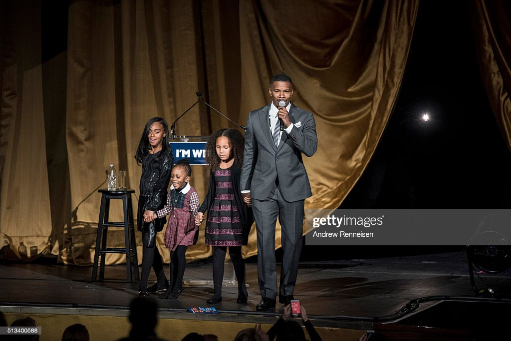 Actor Jamie Foxx speaks on stage during a fundraiser for Democratic presidential candidate Hillary Clinton at Radio City Music Hall on March 2, 2016 in New York City. Clinton won seven states in yesterday's Super Tuesday.
