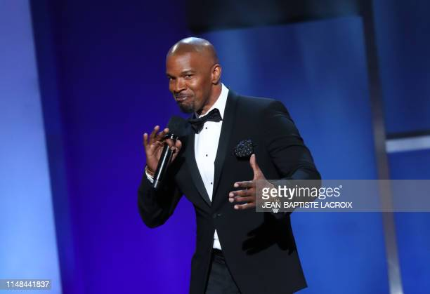 Actor Jamie Foxx speaks on stage during the 47th American Film Institute Life Achievement Award Gala at the Dolby theatre in Hollywood on June 6,...