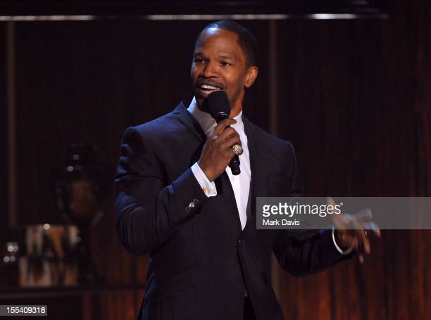 """Actor Jamie Foxx speaks onstage at Spike TV's """"Eddie Murphy: One Night Only"""" at the Saban Theatre on November 3, 2012 in Beverly Hills, California."""