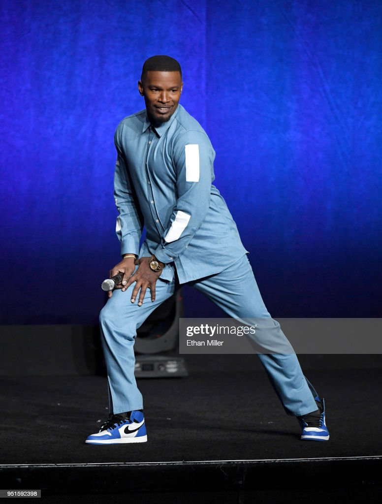 Actor Jamie Foxx speaks onstage during CinemaCon 2018 Lionsgate Invites You to An Exclusive Presentation Highlighting Its 2018 Summer and Beyond at The Colosseum at Caesars Palace during CinemaCon, the official convention of the National Association of Theatre Owners, on April 26, 2018 in Las Vegas, Nevada.