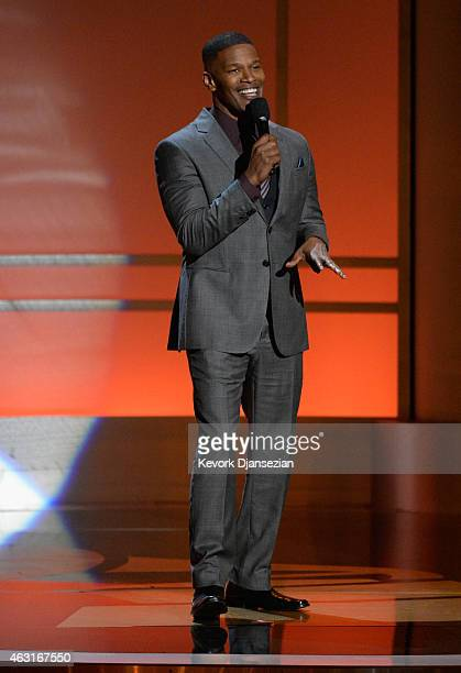Actor Jamie Foxx speaks onstage during Stevie Wonder Songs In The Key Of Life An AllStar GRAMMY Salute at Nokia Theatre LA Live on February 10 2015...
