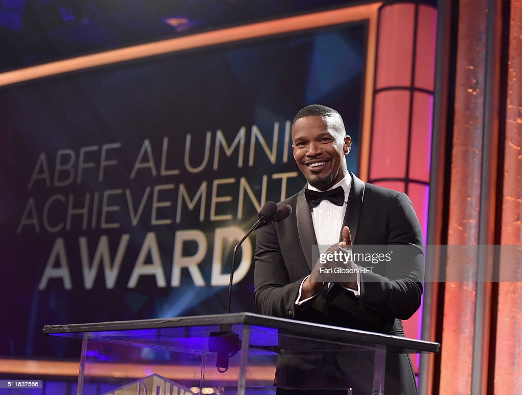 Actor Jamie Foxx speaks onstage during the 2016 ABFF Awards: A Celebration Of Hollywood at The Beverly Hilton Hotel on February 21, 2016 in Beverly Hills, California.