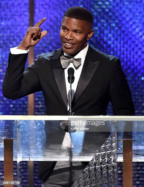 Actor Jamie Foxx speaks onstage during the BAFTA Los Angeles Jaguar Britannia Awards presented by BBC America and United Airlines at The Beverly...