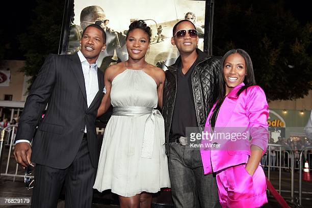 Actor Jamie Foxx tennis pro Serena Williams actors Jada Pinkett Smith and Will Smith pose at the premiere of Universal Picture's The Kingdom at the...