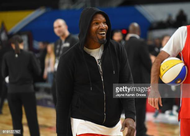 Actor Jamie Foxx warms up prior to the 2018 NBA AllStar Game Celebrity Game at Los Angeles Convention Center on February 16 2018 in Los Angeles...