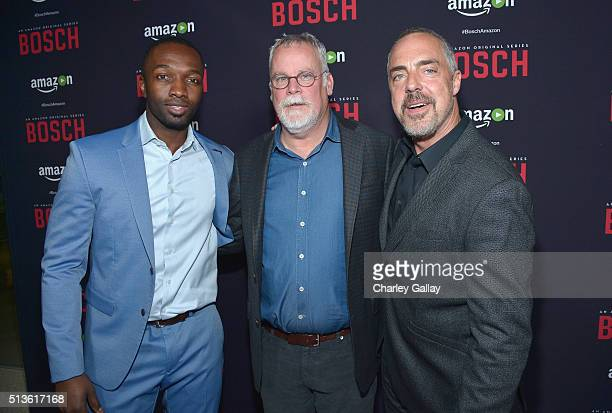 Actor Jamie Hector author and creator Michael Connelly and actor Titus Welliver attend Amazon Red Carpet Premiere Screening For Season Two Of...