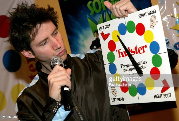 Actor Jamie Kennedy spins the Twister wheel as he takes part in a 'Son of the Mask' event at The Children's Museum of Manhattan on February 14 2005...