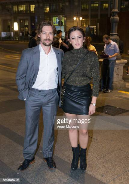 Actor Jan Cornet and actress Marina Salas arrive at the 'Hollywood Madrid' Cocktail at Casino de Madrid on October 9 2017 in Madrid Spain
