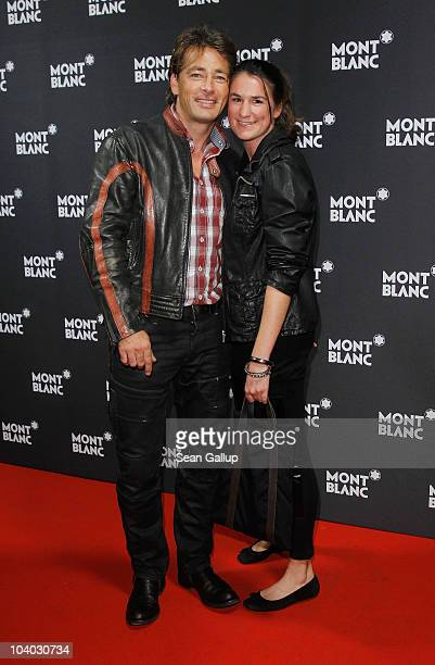 Actor Jan Sosniok and Nadine Moellers attend the Montblanc John Lennon Edition Pen Launch Party at Spindler Klatt on September 12 2010 in Berlin...