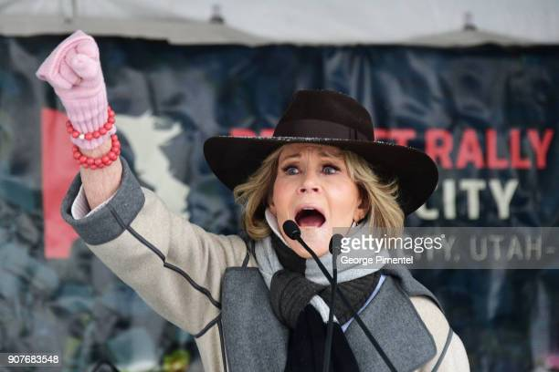 Actor Jane Fonda speaks onstage at the Respect Rally in Park City during the 2018 Sundance Film Festival on January 20th 2018 in Park City Utah