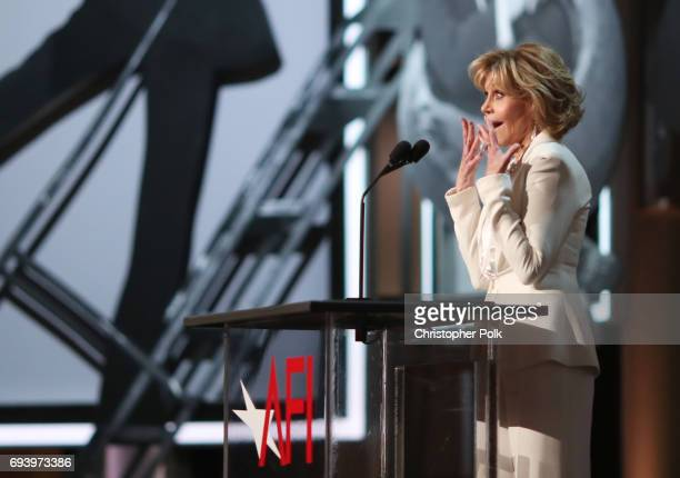 Actor Jane Fonda speaks onstage during American Film Institute's 45th Life Achievement Award Gala Tribute to Diane Keaton at Dolby Theatre on June 8,...