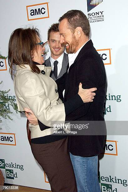 Actor Jane Kaczmarek actor Aaron Paul and actor Bryan Cranston arrive at the Premiere Screening of AMC's new Sony Pictures' Television drama Breaking...
