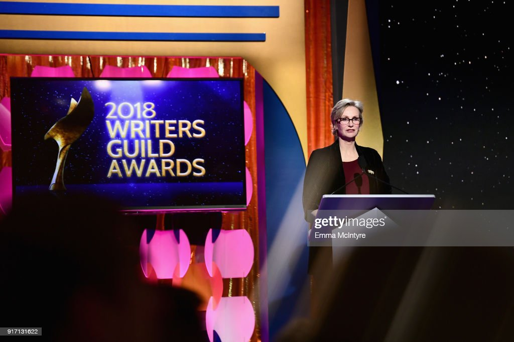Actor Jane Lynch speaks onstage during the 2018 Writers Guild Awards L.A. Ceremony at The Beverly Hilton Hotel on February 11, 2018 in Beverly Hills, California.