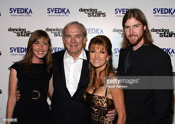 Actor Jane Seymour poses with family daughter Katie Flynn husband James Keach and son Sean Flynn at the 'Dancing With The Stars Finale' after party...