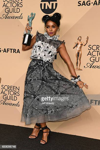 Actor Janelle Monae, co-recipient of the Outstanding Performance by a Cast in a Motion Picture award for 'Hidden Figures,' poses in the press room...