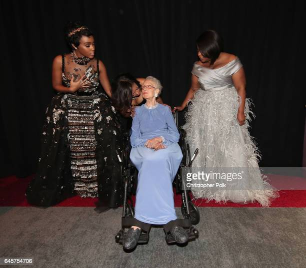 Actor Janelle Monae NASA mathematician Katherine Johnson and actors Taraji P Henson and Octavia Spencer pose backstage during the 89th Annual Academy...