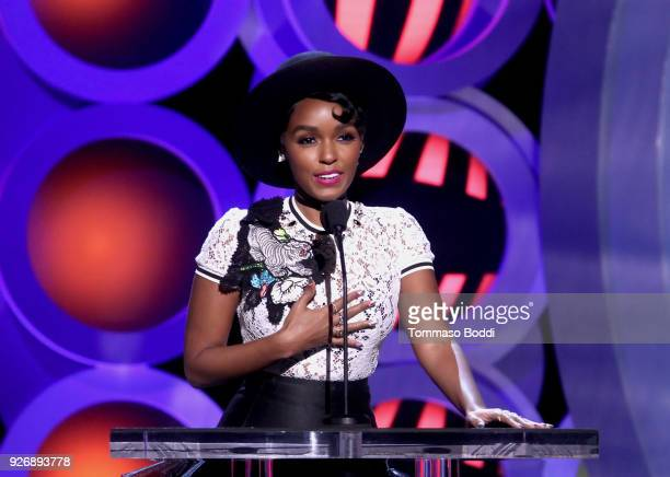 Actor Janelle Monae speaks onstage during the 2018 Film Independent Spirit Awards on March 3 2018 in Santa Monica California