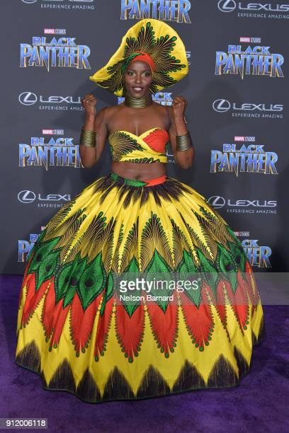 Actor Janeshia AdamsGinyard attends the premiere of Disney and Marvel's 'Black Panther' at Dolby Theatre on January 29 2018 in Hollywood California
