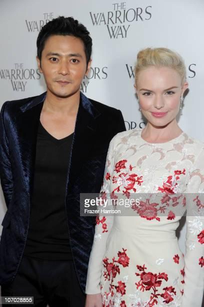 """Actor Jang Dong-gun and actress Kate Bosworth arrive at """"The Warrior's Way"""" screening held at CGV Cinemas on November 19, 2010 in Los Angeles,..."""