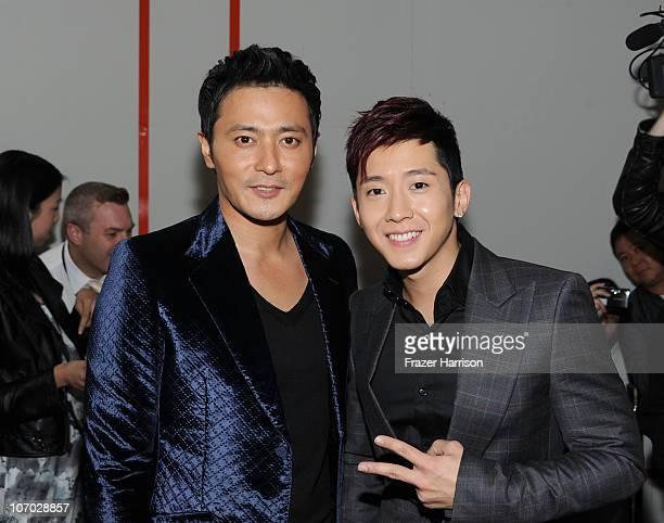 """Actor Jang Dong-gun and singer Brian Joo of the band Fly To The Sky arrive at """"The Warrior's Way"""" screening held at CGV Cinemas on November 19, 2010..."""