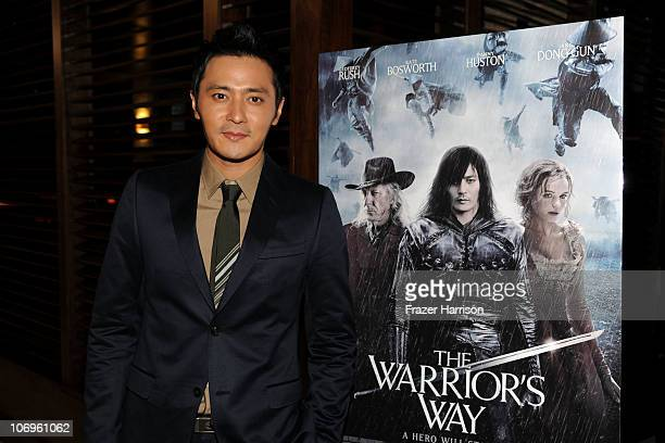 """Actor Jang Dong-gun attends """"The Warrior's Way"""" junket panel held at the Landmark Theatre on November 18, 2010 in Los Angeles, California."""