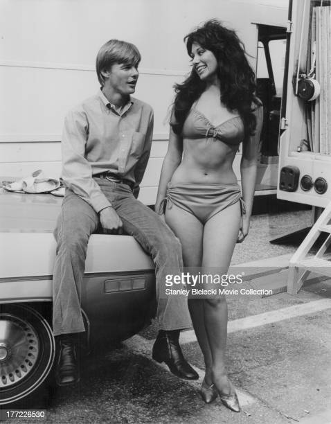 Actor JanMichael Vincent behind the scenes of the movie 'Going Home' 1971