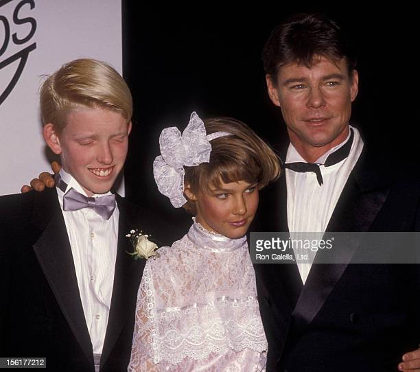 Actor JanMichael Vincent daughter and son attend First Annual Stuntman Awards on February 2 1985 at KABC TV Studios in Los Angeles California