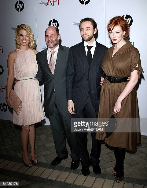 Actor January Jones, creator Matthew Weiner, and actors Vincent Kartheiser and Christina Hendricks arrive at the AFI Awards 2008 held at the Four...