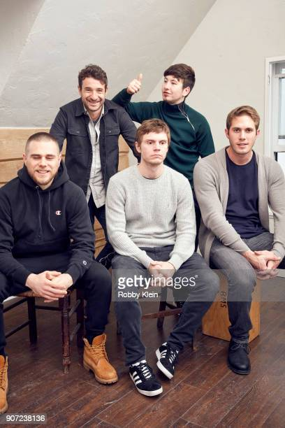 Actor Jared Abrahamson Director Bart Layton Actors Evan Peters Barry Keoghan and Blake Jenner from the film 'American Animals' pose for a portrait in...