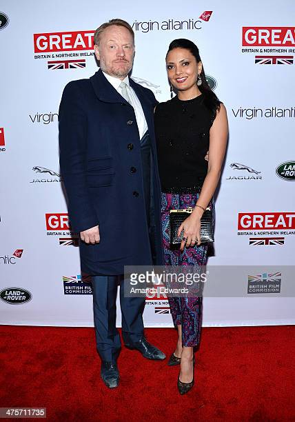Actor Jared Harris and actress Allegra Riggio arrive at the GREAT British Film Reception honoring the British Nominees of The 86th Annual Academy...